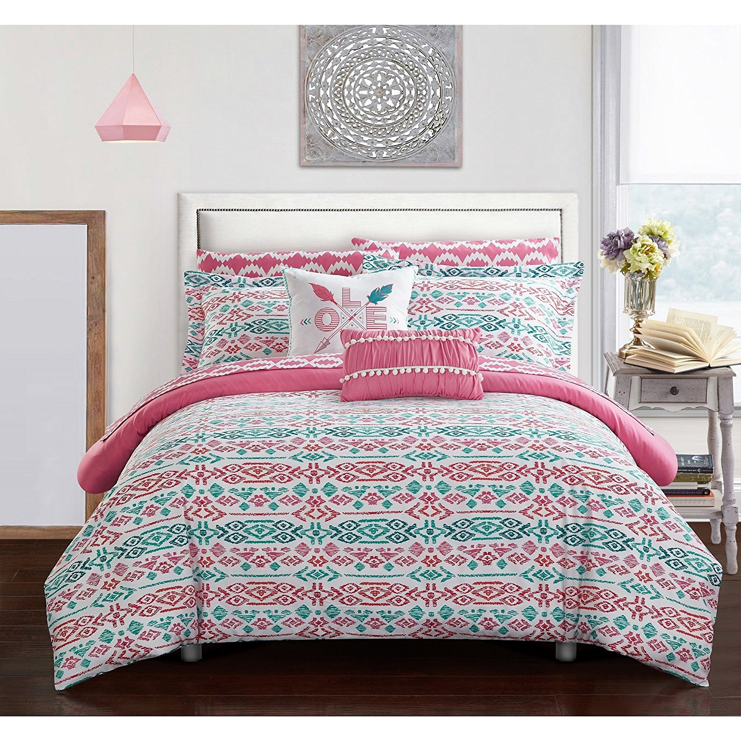 L&M 7 Piece Girls White Pink Teal Blue Aztec Tribal Motif Themed Comforter Twin Set, All Over Bright Ikat Southwest Bedding, Vibrant Girly Intricate South West Native American Pattern, Microfiber