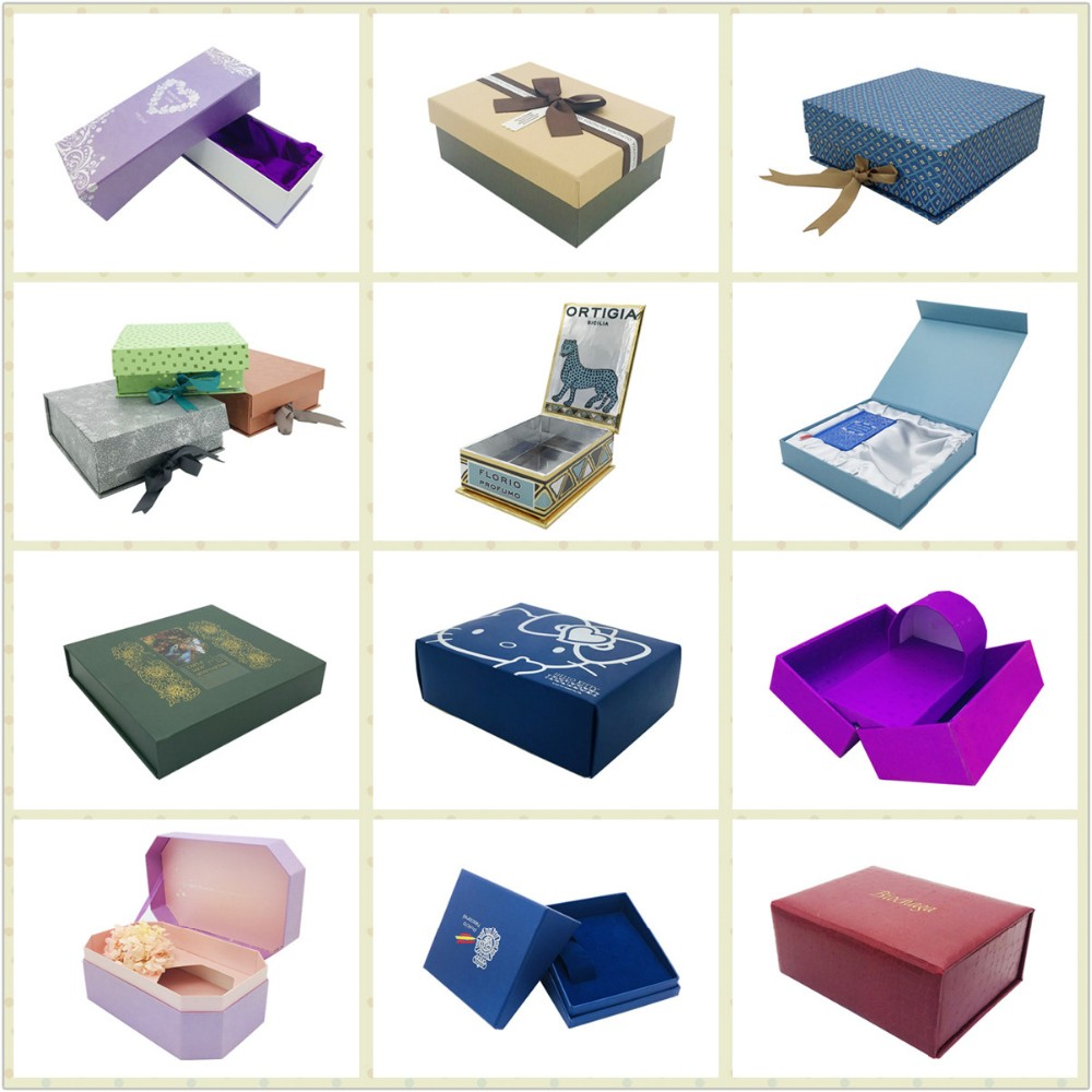 decorative book shaped packaging gift magnetic rectanggle folding paper box with handle