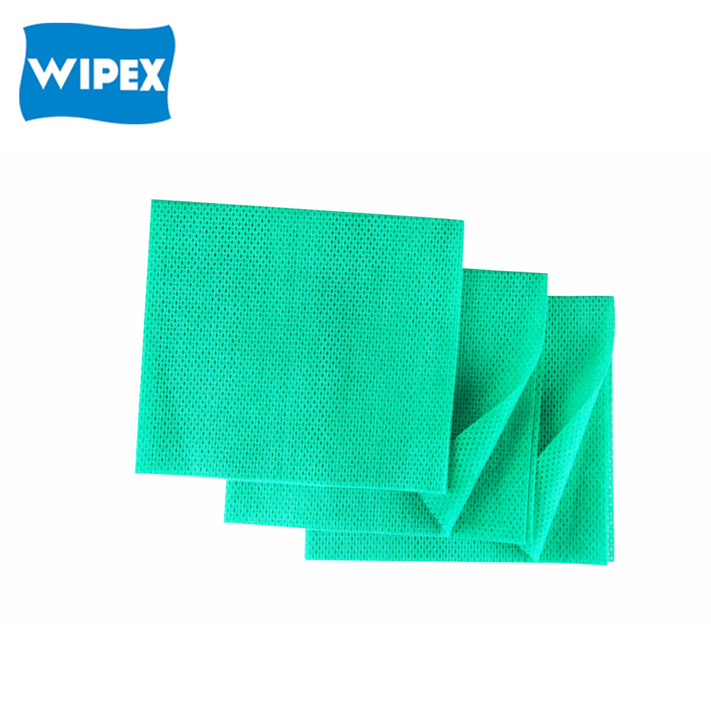 30%viscose, 70%polyester needle punched non-woven fabric green color cleaning cloth (30%viscose, 70%polyester, 90gsm)