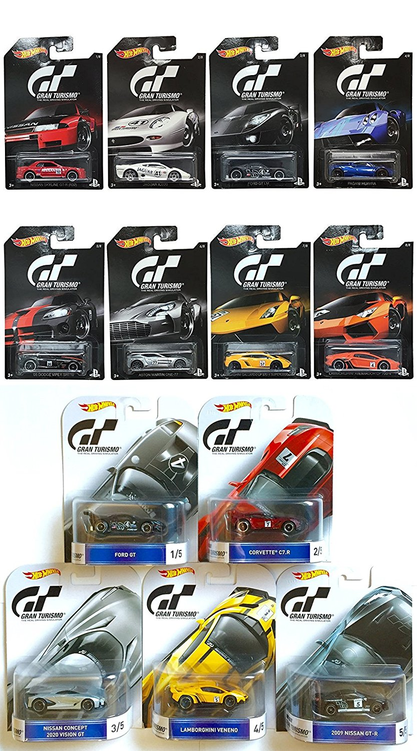 Hot Wheels Complete 2016 Gran Turismo Set - 5-Car Retro Entertainment and 8-Car Exclusive Bundle Set
