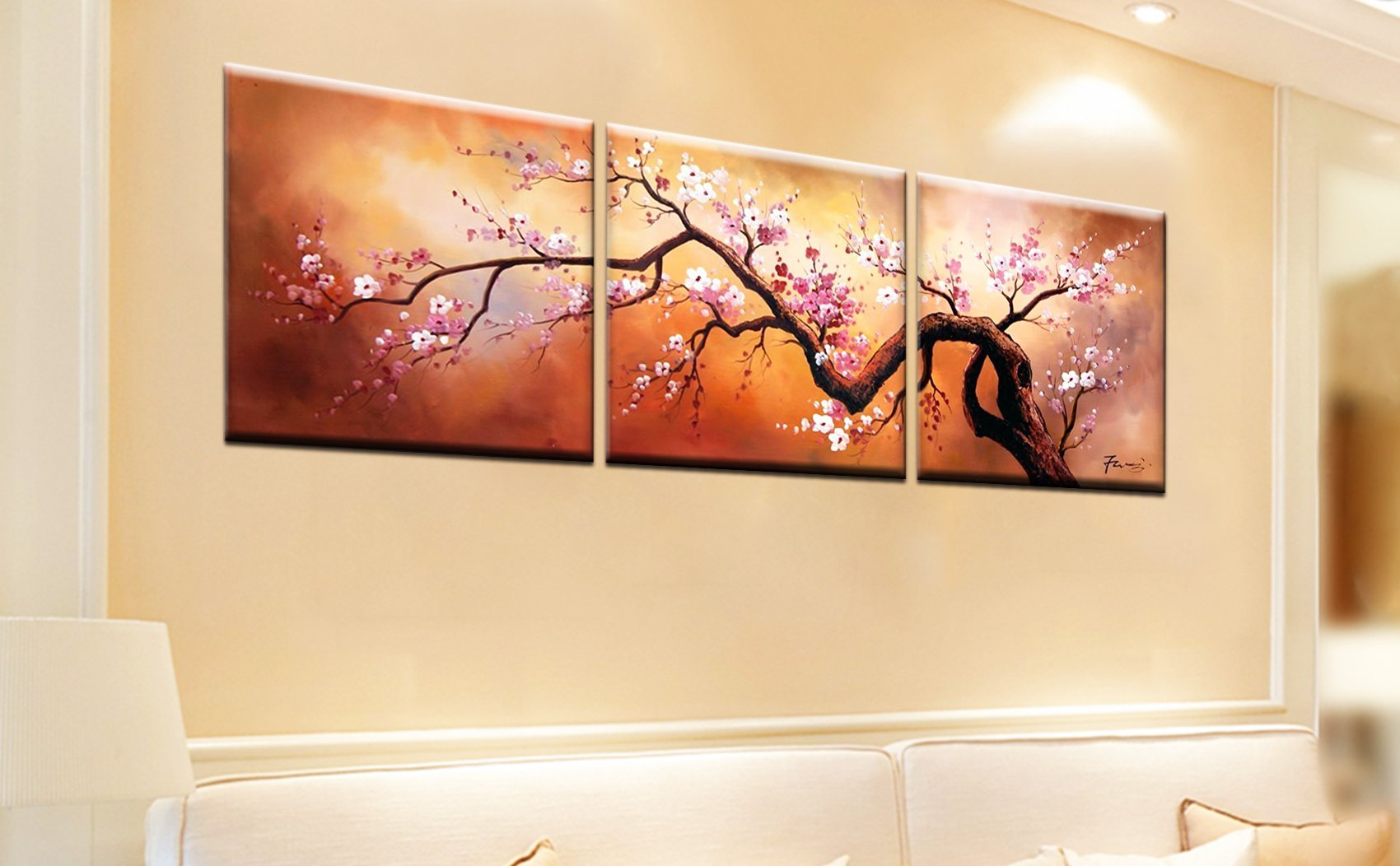 Buy XM Art-Plum Tree Blossom 100% Hand Painted Abstract Paintings ...