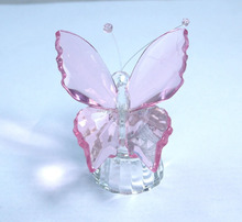 Light Up Pink Glass Crystal Butterfly Figurine MH-D0432
