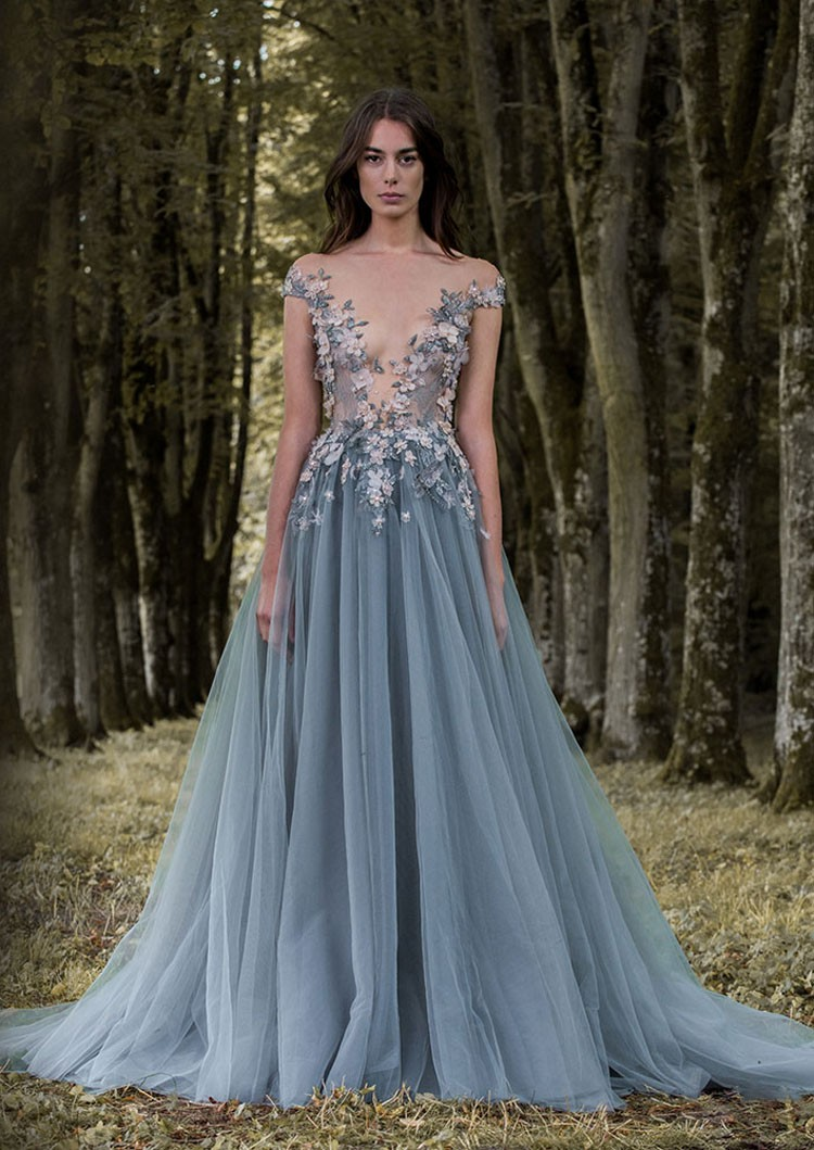 Flower Grey Blue Evening Dresses Latex Lao