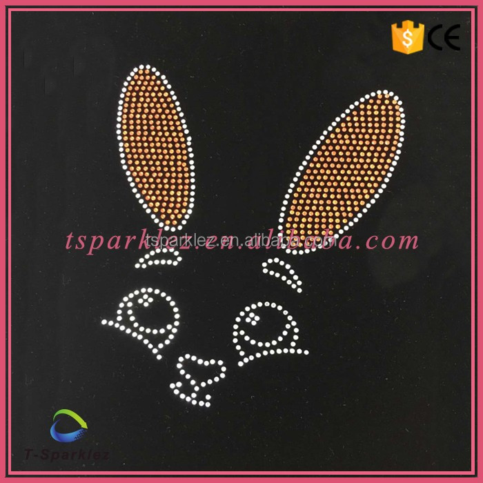 2016 cute animal rabbit motif iron on rhinestone
