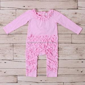 46b48f5734c Fall Promotion Ruffle Design Pink Soft Cotton Romper Unique Baby Girl Names