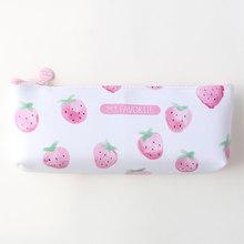 Креативный модный кожаный чехол-карандаш с фруктами и клубничкой, водонепроницаемая вместительная сумка-карандаш, сумка для хранения для п...(Китай)