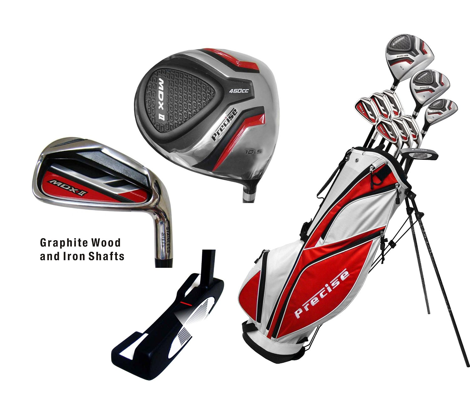 """Men's Tall All Graphite Complete Golf Club Set Right Handed, Driver, 3 Wood, Hybrid, 5 thru PW Stainless Irons, Putter, Stand Bag, Mid-Flex Graphite shafts, Fit 6'0"""" to 6'3"""" Tall Size Men"""