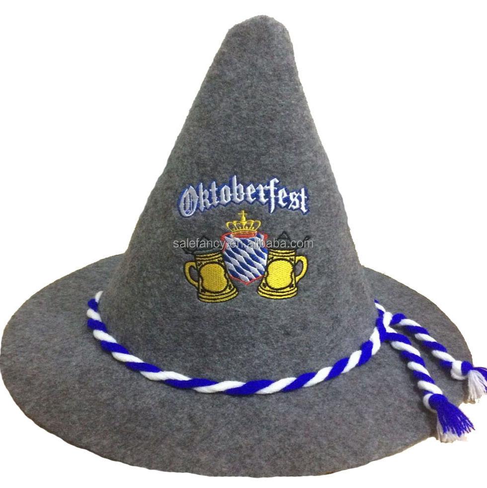 Green with Bavarian-USA Pin German Oktoberfest Felt Hat
