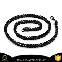 Amazon main product 2016 fashion black plated stainless steel mens chain necklace