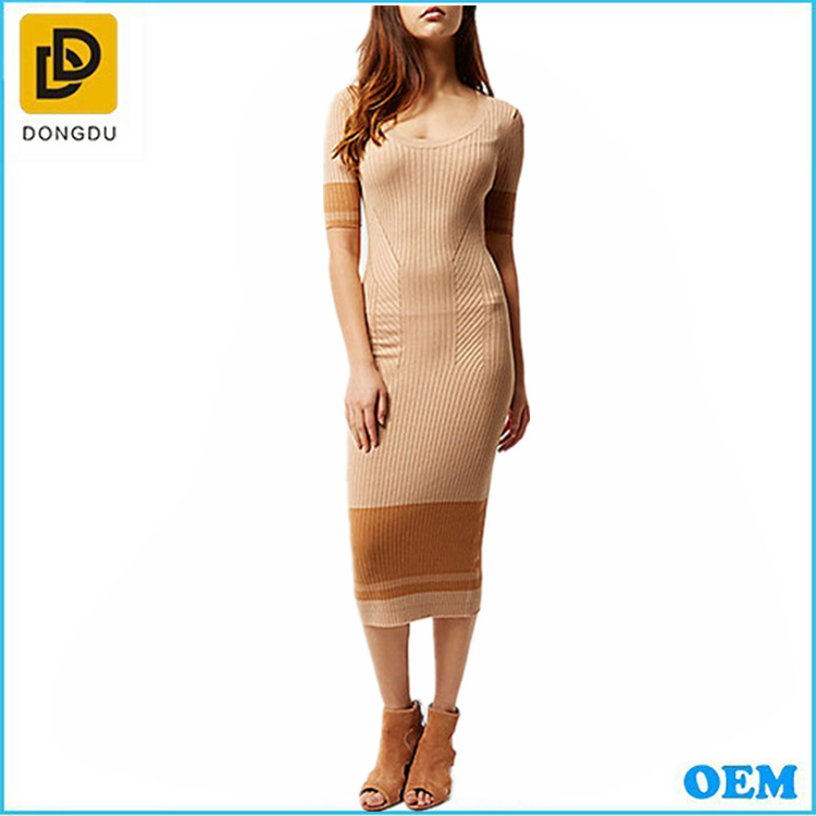 Wholesale bulk cheap ladies body fit jersey knitted half sleeve long maxi dress design manufacturer
