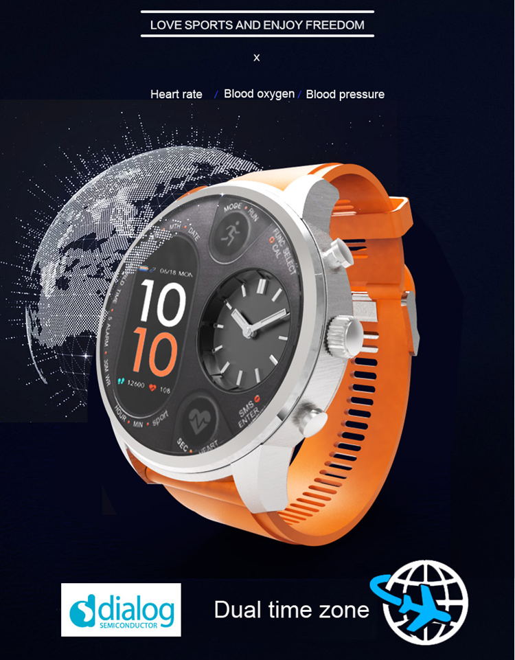 Factory Direct Sports Smart Watch T3 Dual time Zone Watch Heart Rate Monitor IP68 Waterproof Health Movement Smartwatch 2019