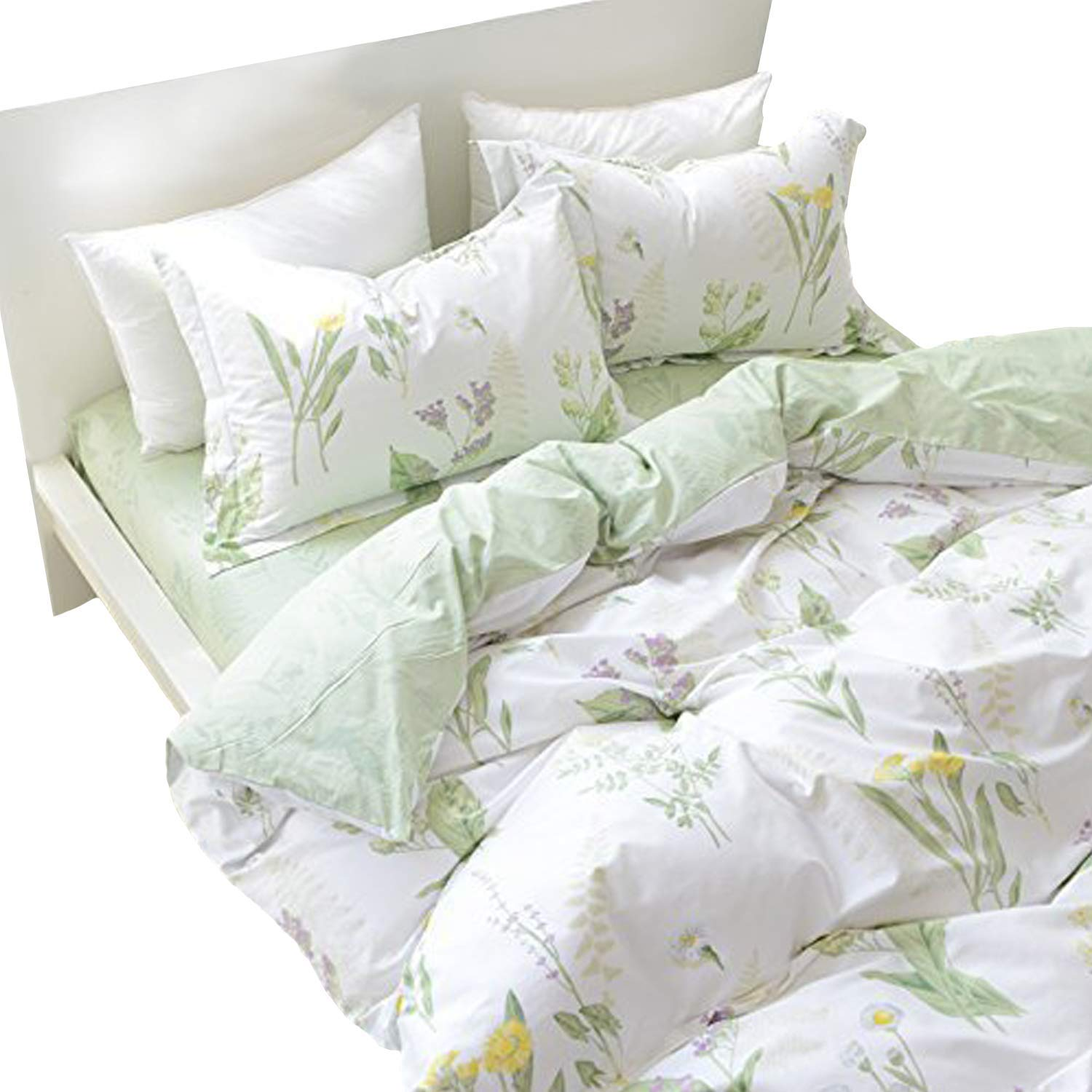 FADFAY Shabby Green Floral Duvet Cover Set Yellow Daisy Purple Lavender Flowers Cotton Bedding Set 3-Piece-1duvet Cover & 2pillowcases-Full Size