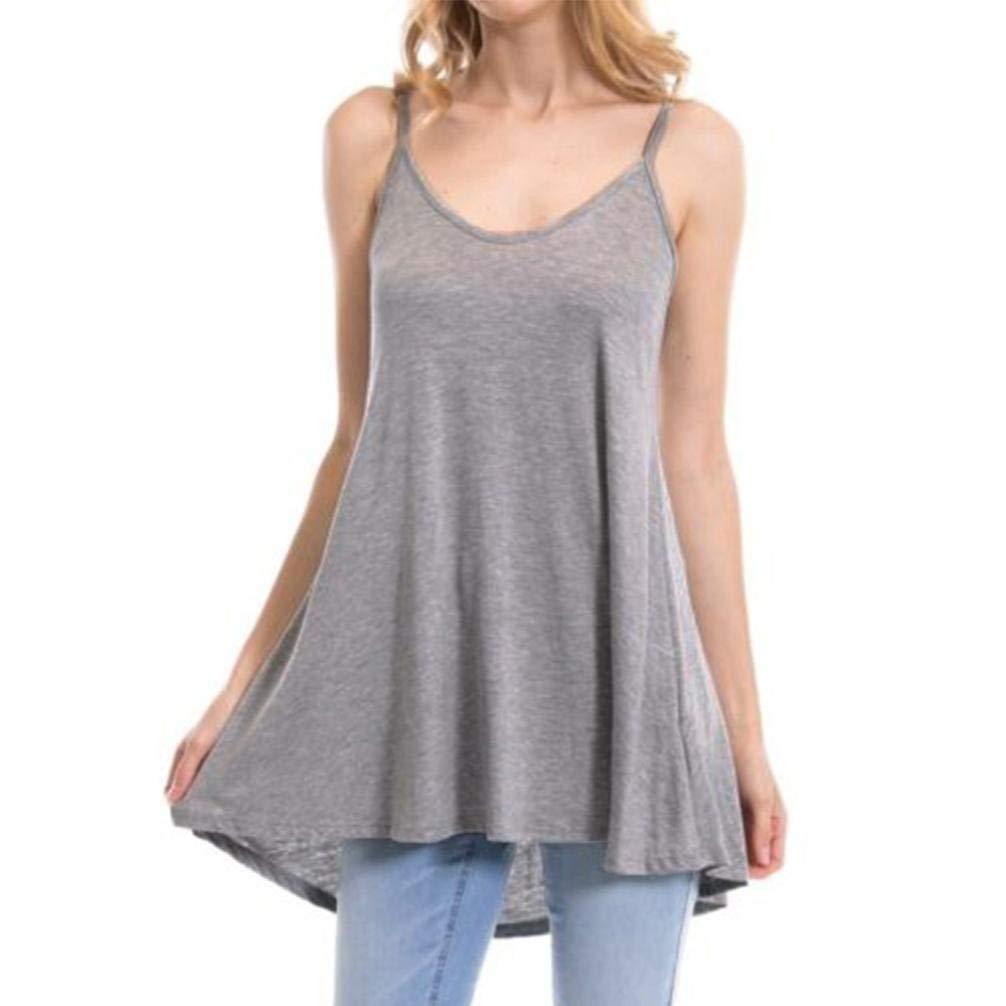 WM & MW Women Basic Casual Loose Solid Blackless Sleeveless Cami Vest Tunic Tank Top Tee Shirt