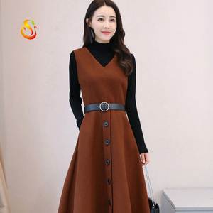 2018 autumn and winter new fashion Korean women's wool long-sleeved dress two-piece suit skirt