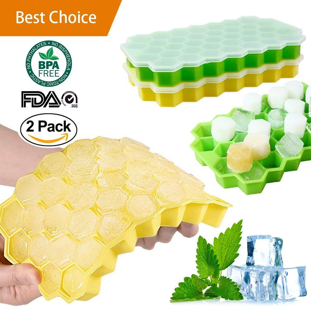 Ice Cube Trays Silicone Mold Tray With Lid 2 Pack Bpa Free Spill Resistant Easy Release Revolutionary Space Saving