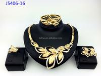 Lady statement bead necklace wedding pendant gold fashion jewelry set