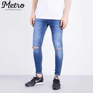 Ripped Knee men blue spray-on skinny fit jeans