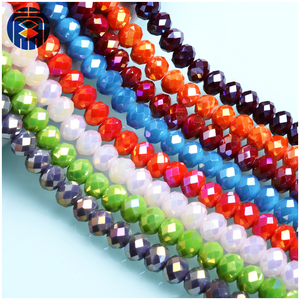 China Crystal Glass Beads Supplier AB Color Faceted Rondelle Czech Glass Beads