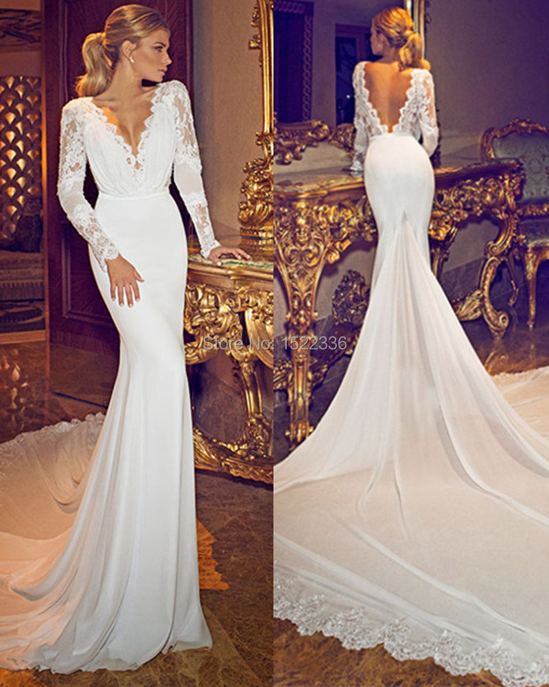 Wedding Gowns Open Back: New Fashionable 2015 Chiffon Lace Deep V Neck Long Sleeves