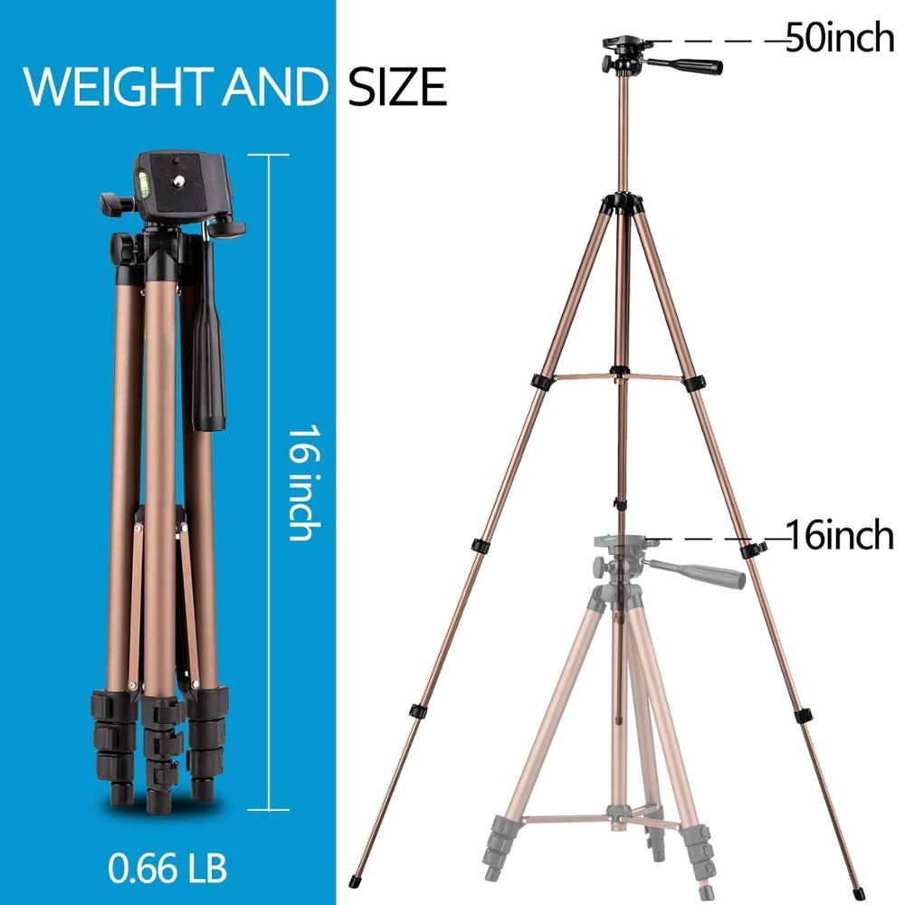 NEW Camera Phone Tripod Aluminum Lightweight Sturdy Tripod with Bag Wireless Remote Universal Clip 3-Way Swivel