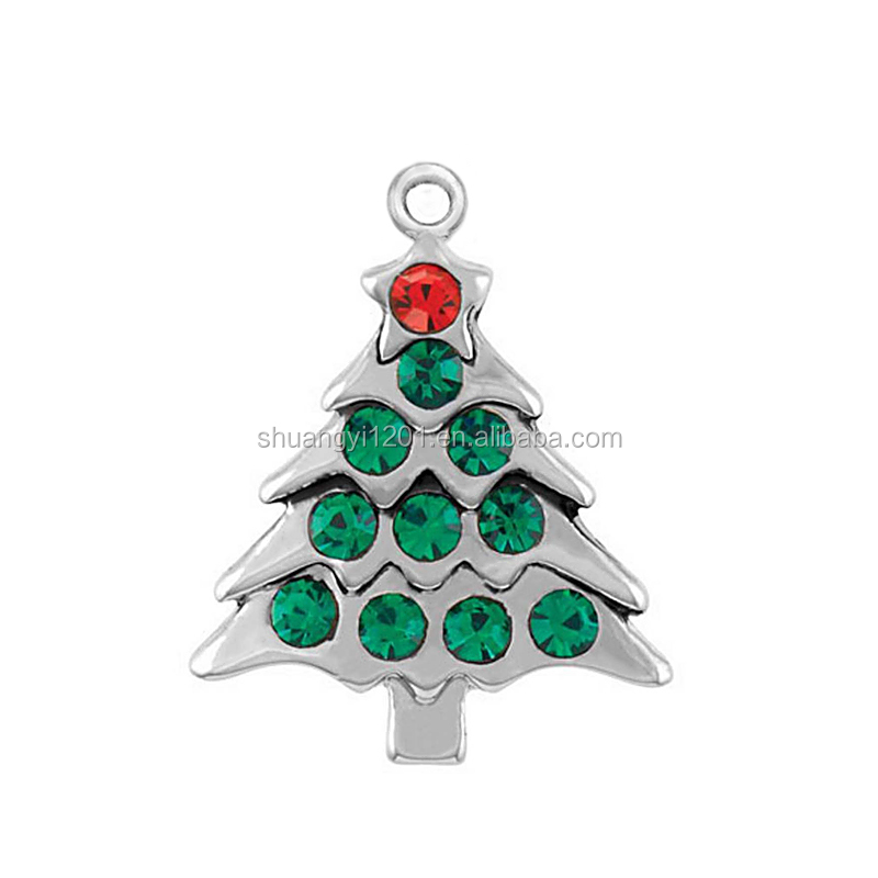 Silver plated with clear crystal stones Holiday Tree charms for Christmas jewelry gift
