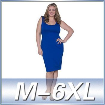 Plus Size Women Clothing Sleeveless Knee Length Cotton Latest Dress