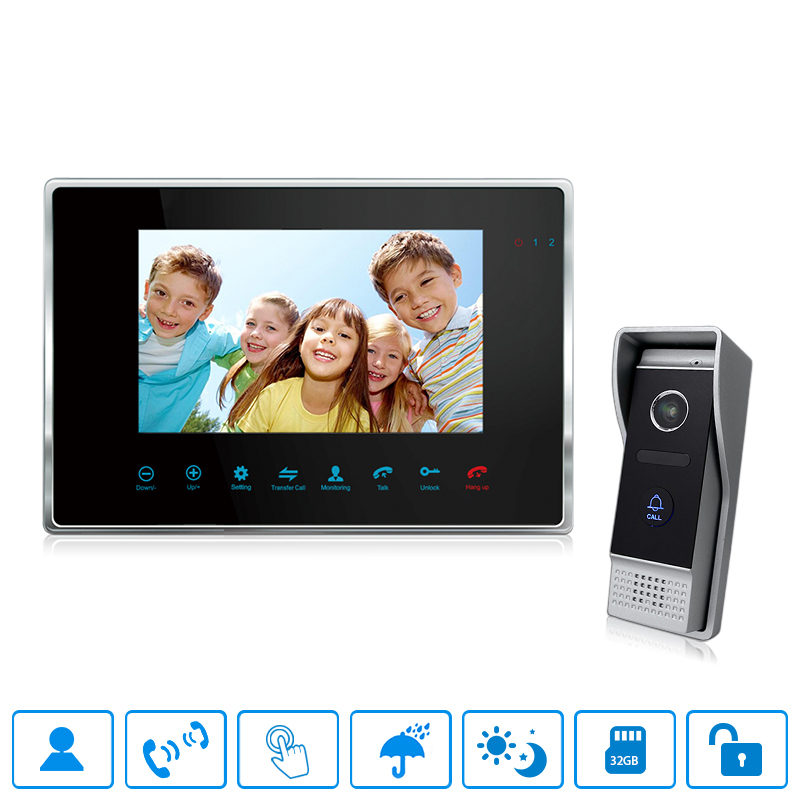 "Bcomtech 4 wired 7"" Color video intercom support 2 call panel 2 cameras 4 monitor"