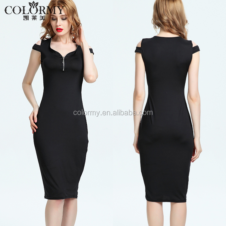 New style OEM women clothing elegant black zip front dew shoulder midi bodycon dress