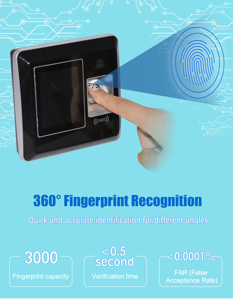 TCP/IP Smart RFID Employee Biometric Finger Print Attendance Machine HS-220TC