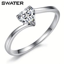 Wholesale Jewelery Cubic Zirconia 925 Sterling Silver Ring Heart Imprint Ring