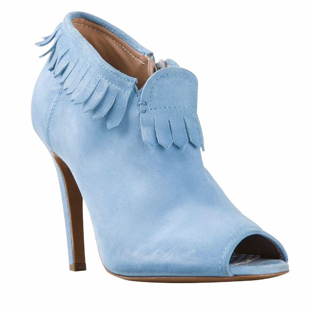 Pale Blue Velvet Shoes