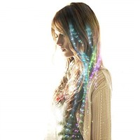 LED luminous flash glow in the dark braid fiber wig hair accessories for Christmas Party Favors Party Supplies