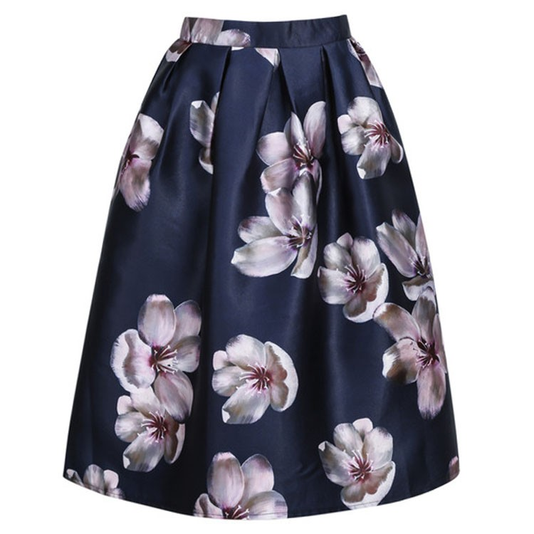 265826266a Get Quotations · Trendy 2015 Women Satin Skirts Female Vintage Floral  Printed Pleated Midi Skirts Fashion Women Girls Skirt
