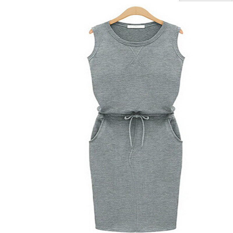 ec7f0b8ceac0bb Get Quotations · Women Sleeveless Summer Style Slim Dresses Sport Dress  Trendy Grey Pockets With Belt Pencil Casual Dress