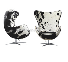 Replica Arne Jacobsen Cow Hide Leather Egg Shape Chair JH-1102