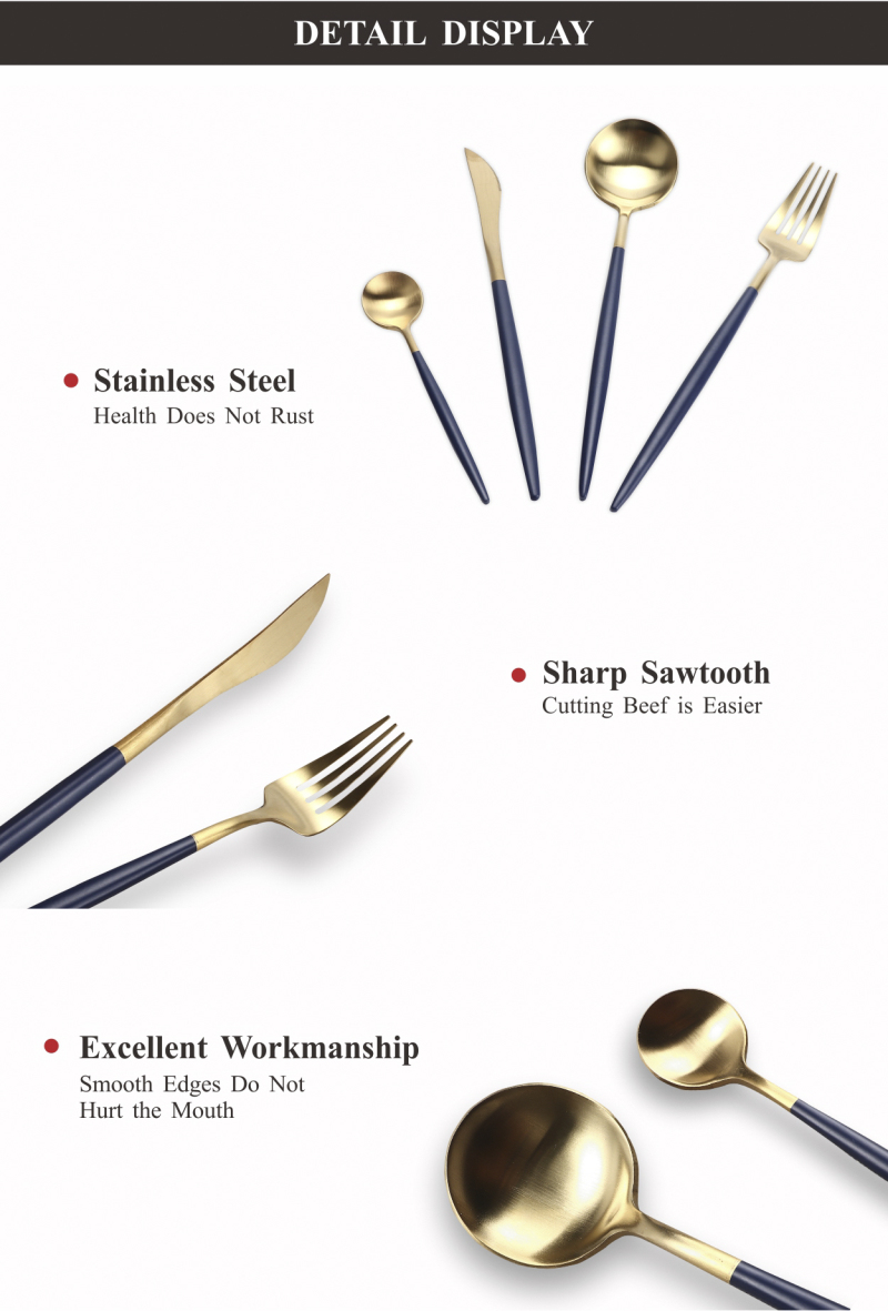 QT00230 high quality stainless steel plated gold silver cutlery for restaurant hot sale