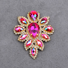45*59mm <span class=keywords><strong>Naaien</strong></span> Op Rose AB Bloem Strass Glas Applique Plaksteen Diamond Strass <span class=keywords><strong>Naaien</strong></span> Gold Claw Crystal Stone ambachten