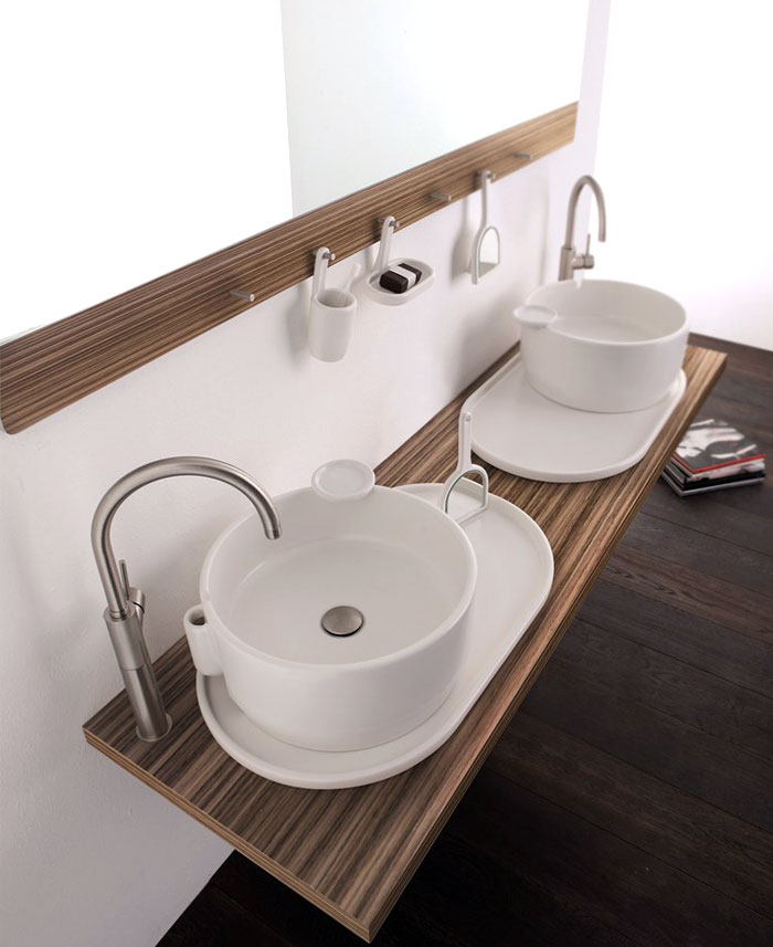 Round Ceramic Wood Countertop Sink Washbasin Benchtop Vanity Design