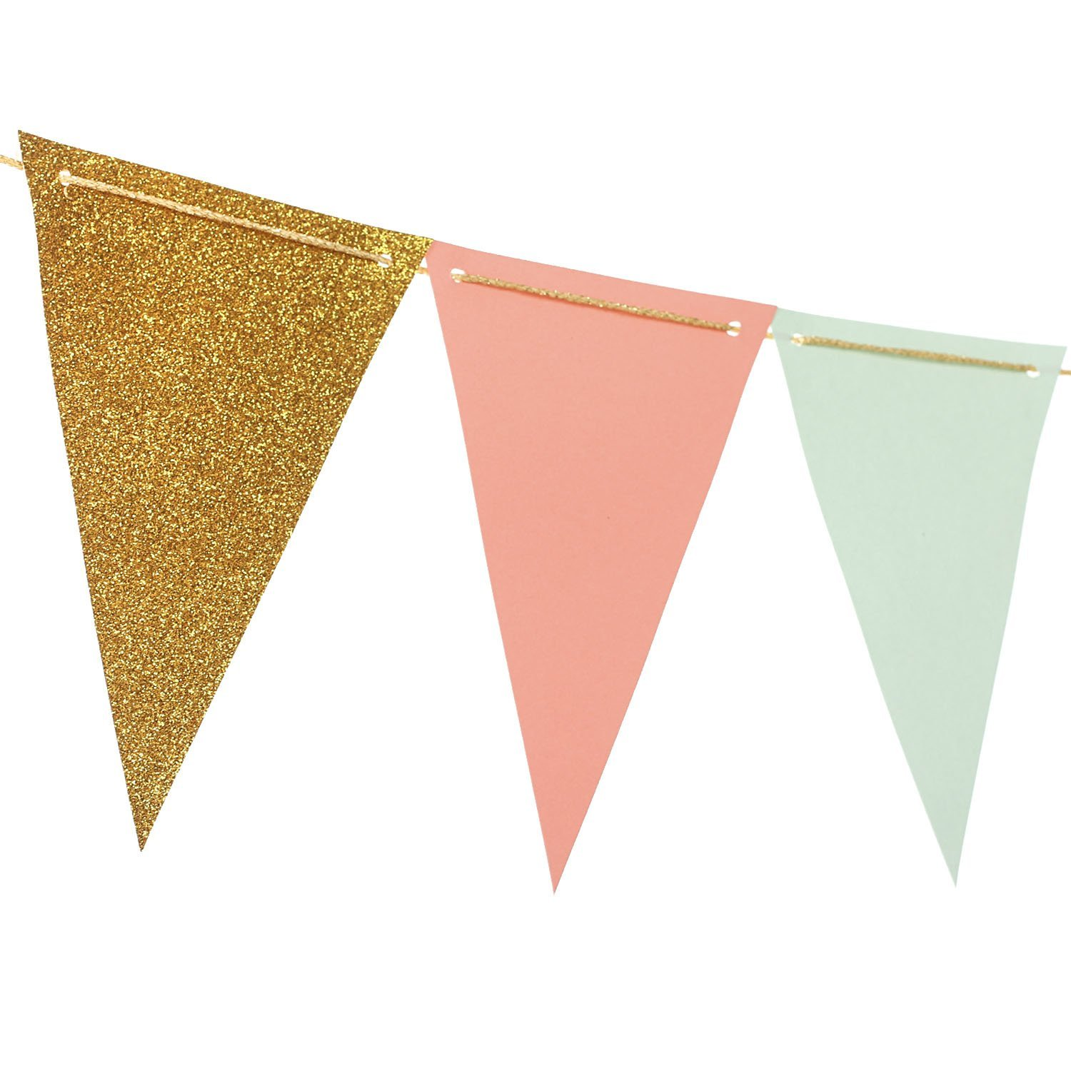 Ling's moment 10 Feet Paper Banner Flags Triangle Banner Flags Vintage Style Pennant Banner for Wedding, Baby Shower, Event & Party Supplies, 15pcs Flags(Mint+Coral+Gold Glitter)