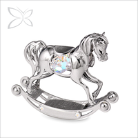 CrystocraftChrome Plated Newborn Baby Souvenir Gifts Decorated with Crystals from Swarovski Metal Rocking Horse Figurine