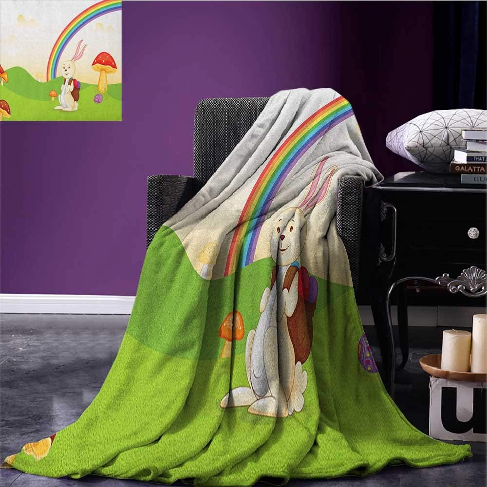 "Mushroom summer blanket Bunny with Easter Egg under Rainbow Happy Rabbit in Nature Kids Theme Fun Design Flannel Multicolor size:60""x80"""