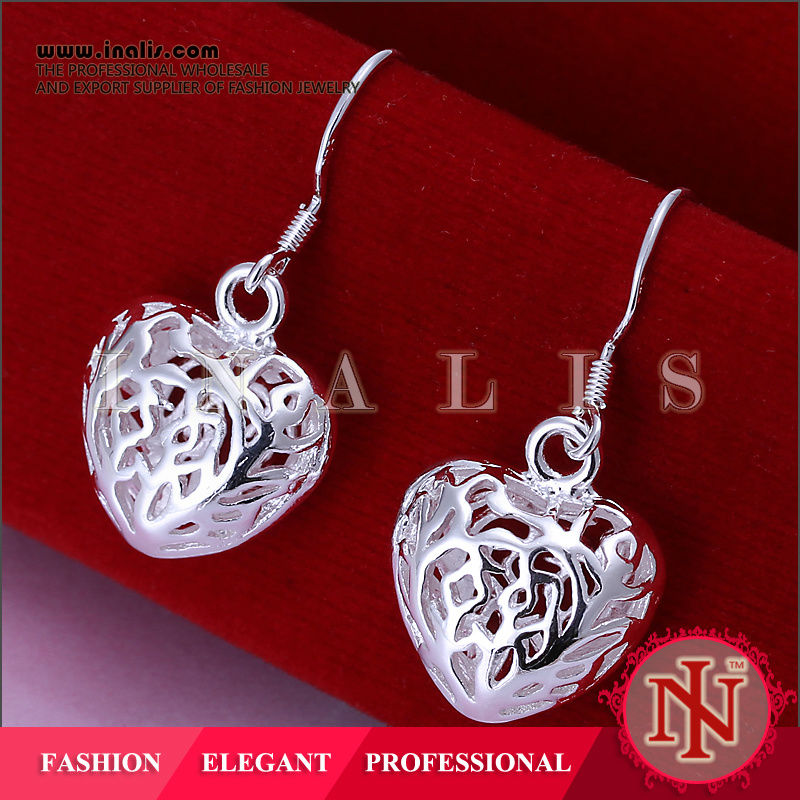 2014 hot sale perfume bottle silver plated hollow out earring E021