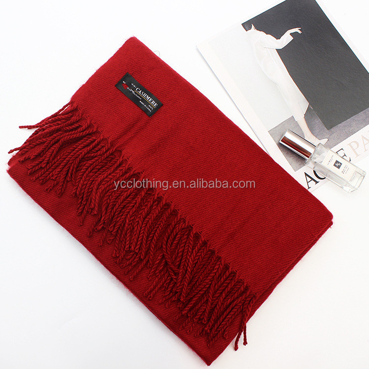 China red winter thick long cashmere scarf with strings