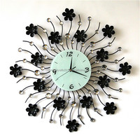 2015 large decoration wrought iron antique clock wall for home decor