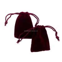 9x12cm Dark Red Velvet Drawstring Pouch Jewelry Birthday gift Bags