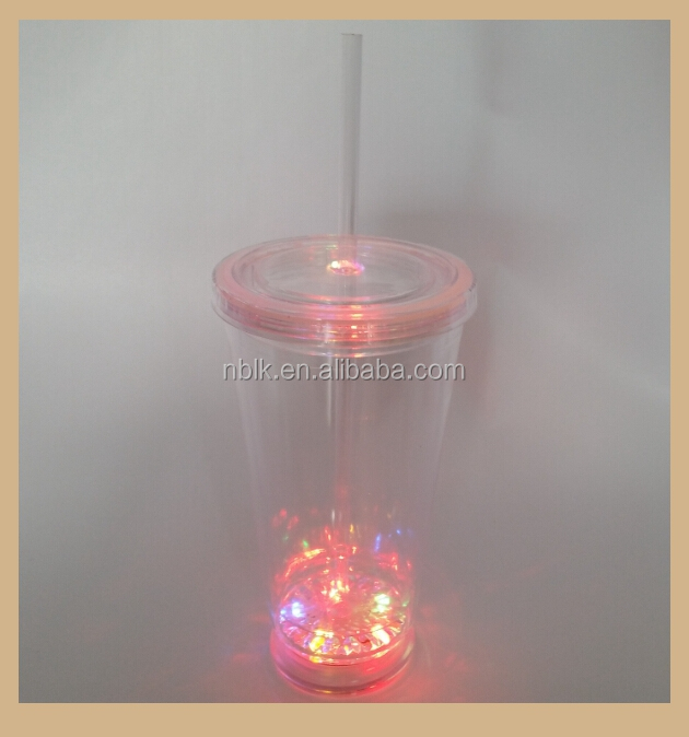 Promote Sales Plastic Led Flashing Cup With Straw