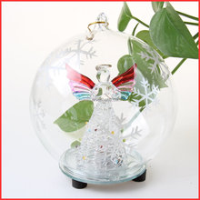 Blown Hanging led light decorating Christmas Glass Ball