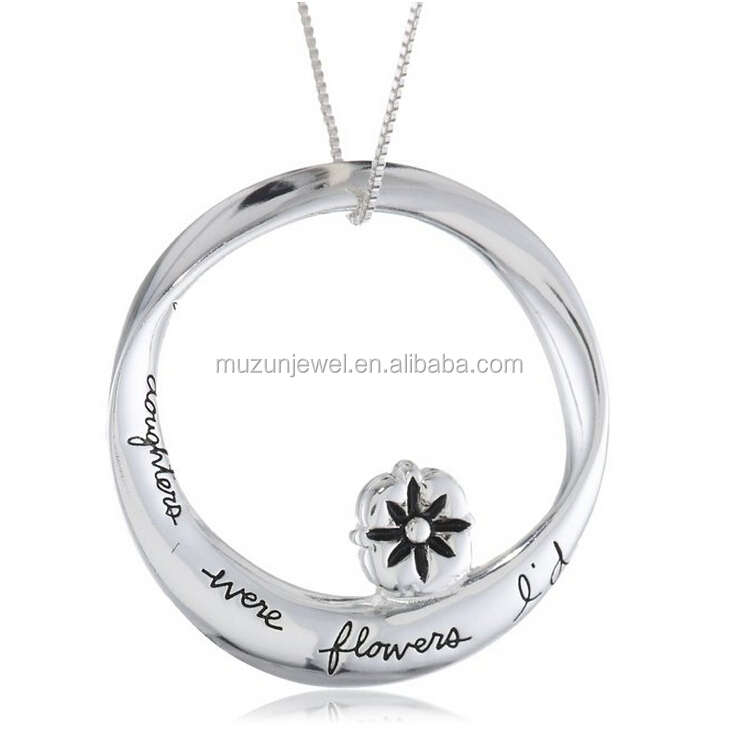 If Daughters Were Flowers I'd Pick You 925 sterling silver personalized message necklace
