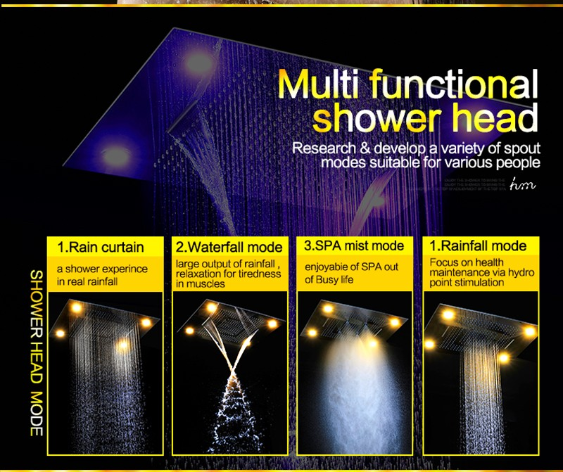 Shower Led Multi Color Recessed Ceiling Shower Head,bathroom Led Shower Head  Set Rainfall,