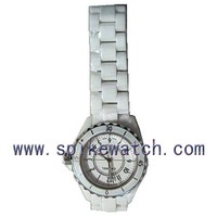 New fashion quartz movt cheap white ceramic watch band